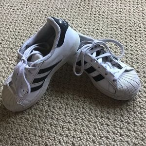 Toddler's Adidas White Leather Shoes